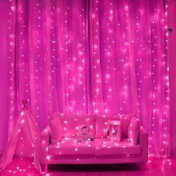 Гирлянда штора розовая в ассортименте